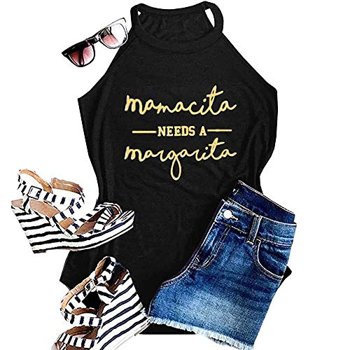 Women Sleeveless Graphic Mamacita Needs a Margarita Halter Tank Tops Casual Basic Tee Yoga Fitness Cami Activewear Racerback Cute Beach Shirts, Black L