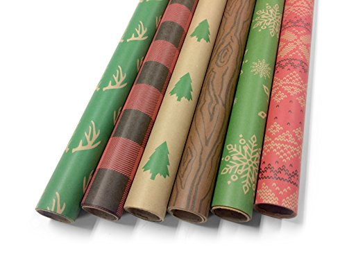 Note Card Cafe Bella Kraft Christmas Wrapping Paper | 6 Pack | 30 x 120 inch Rolls | Rustic, Minimalist Designs | Holidays, Christmas, Gifts, Presents, Exchanges, Showers | Recyclable, Biodegradable