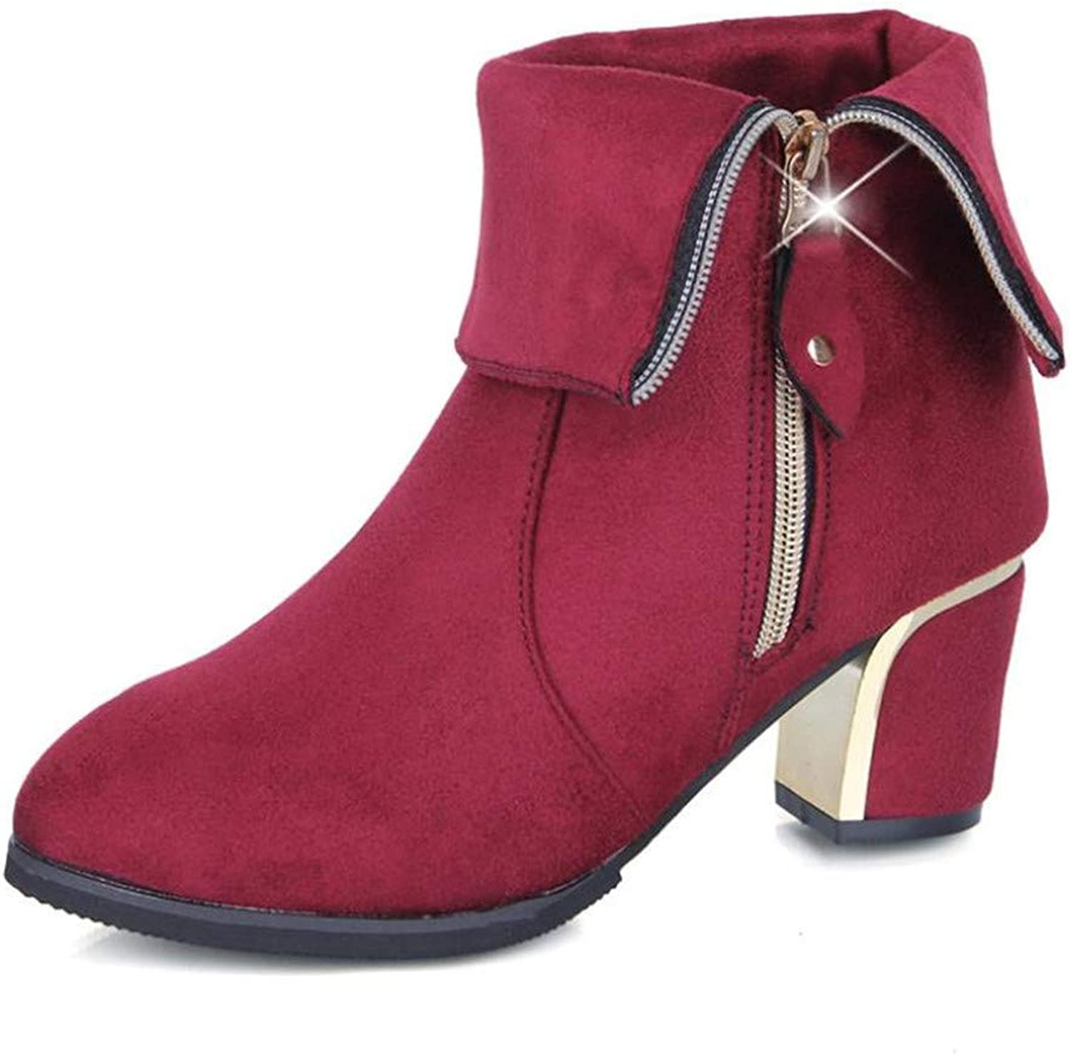 Gusha Women's Two Boots Foldable Mid Boots High Heel Martin Boots