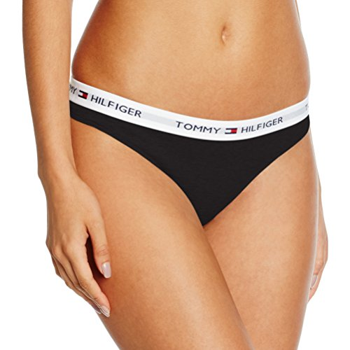 Tommy Hilfiger Microfiber Thong Iconic Perizoma, Nero (Black/White 990), X-Small Donna
