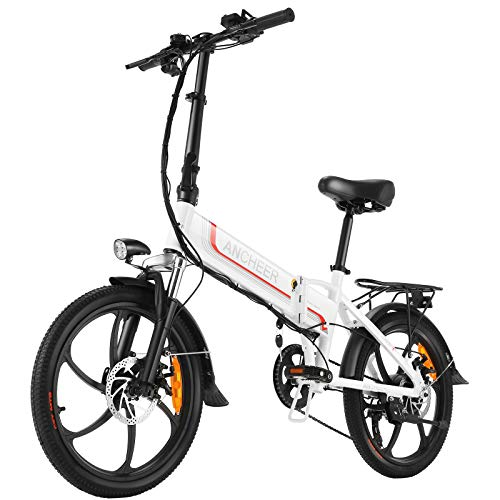 ANCHEER Folding Electric Bike Ebike, 20'' Electric Commuter Bicycle with 10ah Removable Lithium-Ion Battery, 48V 350W Motor and Professional Rear 7 Speed Gear (White)