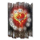 Kreative Feder Flammendes Herz Landhaus Shabby Style Designer Wanduhr Uhr aus Holz *Made in Germany leise ohne Ticken WH002L 40x27cm (leises Quarzuhrwerk)