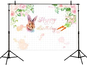 Allenjoy 7x5ft Bunny Spring Birthday Backdrop Some Bunny is Turning One Rabbit Baby Shower Watercolor Floral Photography Background Studio Photo Booth