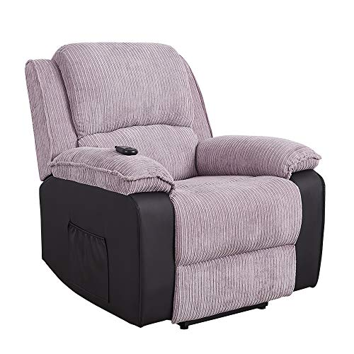 Electric Recliner Jumbo Cord Fabric And Faux Leather Recliner Reclining Armchair Lounge Home Recline Chair for Living Room Bedroom, Electric Single Sofa Adjustable Armchair (Gray - Electric Recliner)