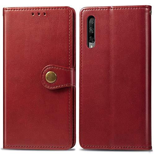 MAXJCN Caso para honrar 9X Pro, Caja Delgada de Cuero PU Premium PU con Cierre magnético Fuerte de Doble vía (Color : Red)