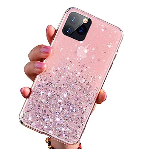 FOURTOC Bonita Funda Epoxi Brillante Compatible con iPhone 12 12 Pro 12 Pro MAX Gold Foil Sparkle Clear Glue TPU Funda Antirrayas A Prueba de Golpes,Rosado,12 Pro MAX