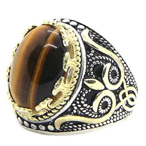 (A) 指輪 リング メンズ ゴールドエンブレムタイガーアイ印台型ステンレスリング(FRC006)サイズ/28号 天然石 インディアンジュエリー サージカルステンレス シンプル エスニック