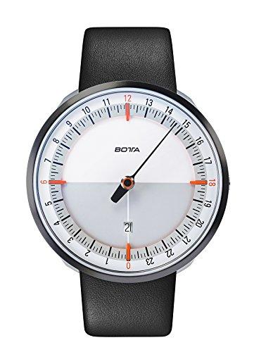 Botta-Design UNO 24 Plus Orange Quarz Armbanduhr - 24H Einzeigeruhr, Edelstahl, Saphirglas Antireflex, Lederband (45 mm, Weiß)