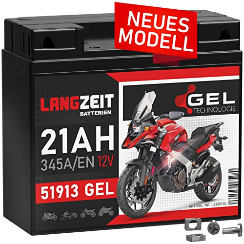LANGZEIT 51913 GEL Motorradbatterie 12V 21Ah 345A/EN Gel Batterie 519013017 ABS 19Ah G19 doppelte Lebensdauer vorgeladen auslaufsicher wartungsfrei