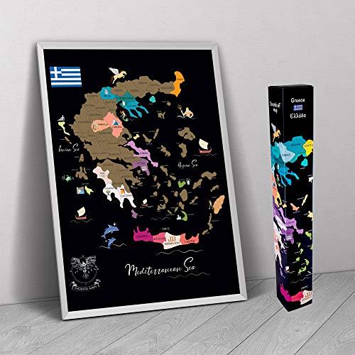 Phoenix Maps, diseño único dibujado a mano, mapa de Grecia, detalle con islas regiones fronterizas, vacaciones de verano, regalo de viaje