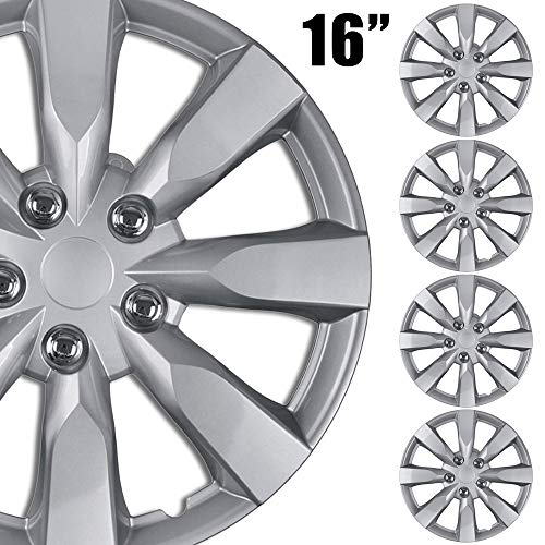 BDK (4-Pack Premium 16' Wheel Rim Cover Hubcaps OEM Style Replacement Snap On Car Truck SUV Hub Cap - 16 Inch Set