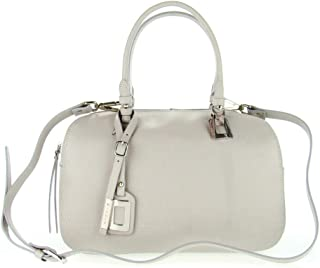Italian Made Gray Calf Leather Structured Designer Ladylike Bowling Tote Bag