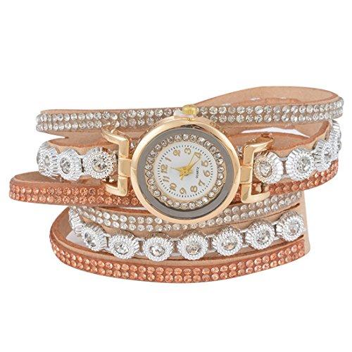 Souarts Damen Geflochten Korea Samt Armbanduhr Jugendliche Mädchen Armreif Uhr mit Batterie Zifferblatt 40cm Khaki