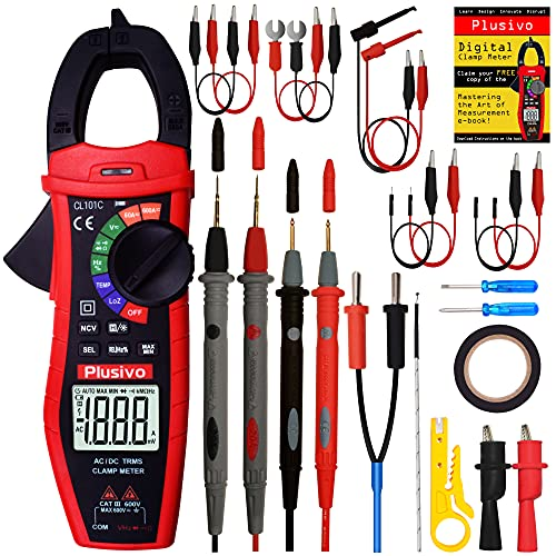 Digital Clamp Meter T-RMS 6000 Counts, Multimeter, Non Contact Voltage Test Auto-ranging, Measures Current Voltage, Capacitance, Resistance Diode Continuity (AC/DC Current Clamp Meter) from Plusivo