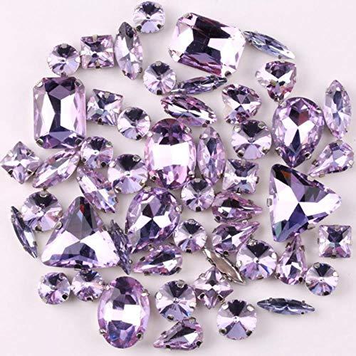 Ajuste de garra de plata 50 piezas/formas de bolsa mezclan cristal violeta...