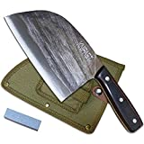 Handmade Forged Kitchen Butcher Knife Serbian Chef Knife Full Tang With Knife Stone Grinder