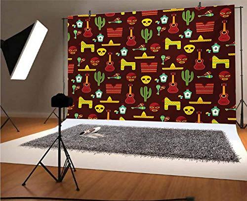Toile de fond mexicaine en vinyle pour photo - 2,4 x 1,8 m - Motif avec éléments culturels traditionnels - Accessoires musicaux - Fond Tequila et Saguro pour selfie, fête...
