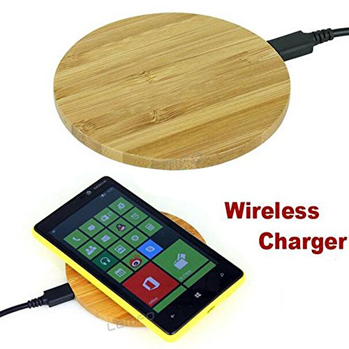 New universale ultra sottile in vero legno di bambù trasmettitore wireless caricatore Pad di ricarica per iPhone Samsung Sony HTC LG Nokia