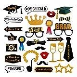 Yuccer Foto Graduation Props 2020 Photo Booth Props Occhiali Mustache Cappelli Labbra Cravatte Arco sul...