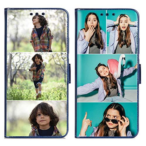 Custom iPhone 12 Mini funda con 1 protector de pantalla para damas, niñas, para mujeres, para madre, para hombres (frontal azul 3 imágenes)