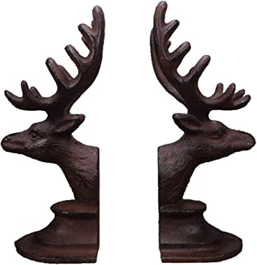 Animal Shape Bookends Cast Iron Retro Book Ends Metal Book Stopper 1 Pair Hand Bookend Creative Arts Bookends for Shelves (Co