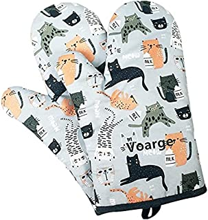 Voarge 1 para pogrubionych rękawiczek do piekarnika, odporne na wysokie temperatury, w wielu wesołych wzorach (szare kotki)