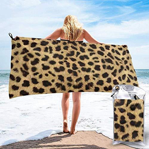 Toalla De Playa De Secado Rápido Leopardo Estampado De Animales Microfibra Impresa Toallas De Baño Ligeras Adecuado para El Hogar Niños Y Adultos Camping Natación Yoga-27.5'X55'