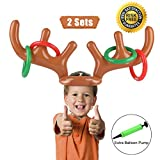 PROACC 2 PCS Party Toss Game, Inflatable Reindeer Antler Hat with Rings for Family Kids Office Xmas Fun Games ( 2 Antlers 8 Rings)