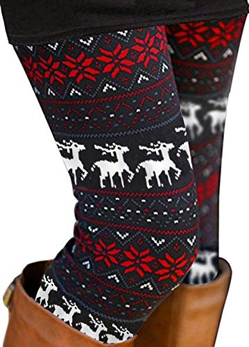 Womens Ultra Soft Brushed Christmas Leggings Reindeer Snowflake Print Black M