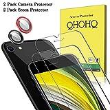 QHOHQ 2 Stück Schutzfolie für New iPhone SE 2020/iPhone SE2 (4.7 inch) mit 2 Stück Kamera Schutzfolie, Panzerglas Membran [9H Härte] - HD - [Anti-Kratz]