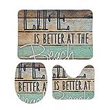 人生はビーチでより良い 柔らかい 快適な 3ピースバスルームマットセット バスマット+台座マット+トイレシートマット トイレマット セット 洗面所 滑り止め 抗菌 洗濯可能 ホーム装飾