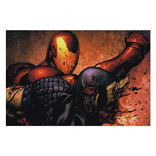 Wooden Jigsaw Puzzles Adults, Iron Man Superhero (5), Challenge and Fun, for Teens Kids, 500 pcs