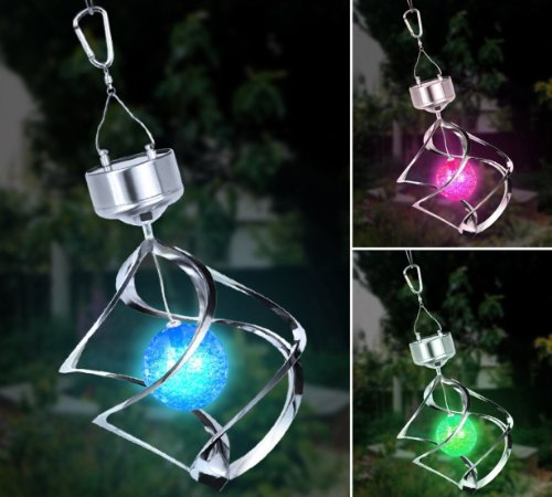 Solalite Colour Changing Hanging Saturn Wind Spinner Solar Light Outdoor Garden
