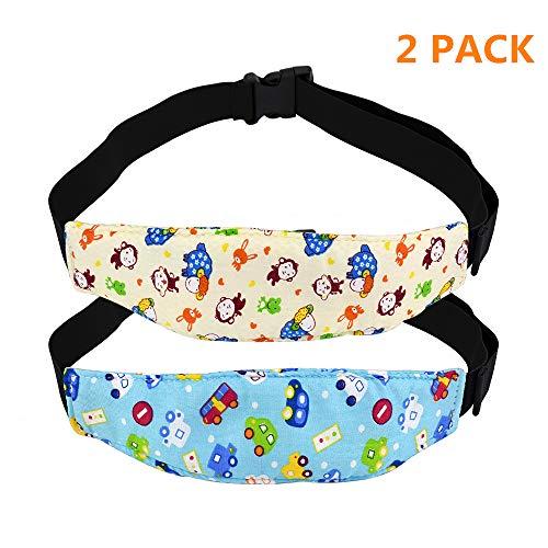 Surplex 2 Pcs einstellbare Kindersitz Befestigung Kopfband Autositz Kopfstütze für Baby-Autositz (1Beige + 1Blue)