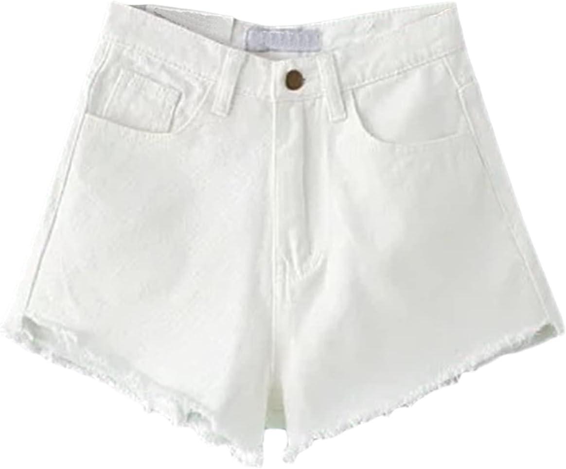 Women's Raw Hem Denim Shorts Frayed High Waist Vintage Jean Short Washed Comfy Summer Casual Stretchy Hot Short Pants (White,27)
