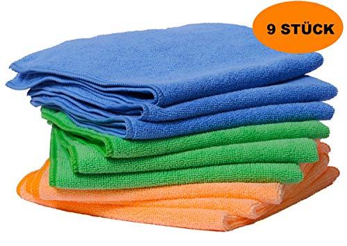 FloKa69® Mikrofaser Putztücher Set I 9 Premium Geschirrtücher Blau Grün Orange 40x40 cm 300gsm I Microfaserlappen für Küche Bad Fenster Putzlappen waschbar saugstark streifenfrei