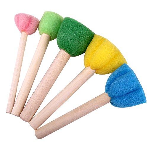 HUHU833(TM) Pincel de pintura para niños, diseño de flores, herramientas de graffiti, juego de estippler de pintura, sellos de espuma para manualidades, accesorios de dibujo para niños