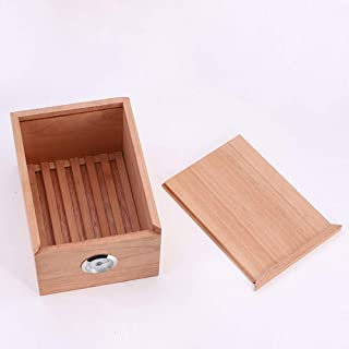Cigar Box - Spain Imported unpainted Cedar Wood moisturizing Box Cuban Smoking Box can Hold 30 Good Sealing (Color : Beige)