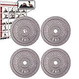 POWRX Discos pesas hierro fundido 20 kg set (4 x 5 kg) - Ideales para mancuernas y...