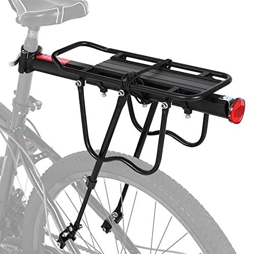 N\C Mountainbike Gepäckträger, Einstellbare Fahrrad Gepäckträger, Schnelle Installation MTB Gepäckträger mit Max. Zuladung 100kg für 24 bis 29 Zoll Fahrräder, aus Aluminiumlegierung, mit Reflektor