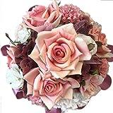 花職人の店 いるでぱいん ウエディングブーケ ブートニア セット アンティークピンクの ラウンドブーケ バラ カーネーション あじさい リボン ピンク 白 ワイン色 ブライダルブーケ ウエディング ブライダル アートフラワー シルクフラワー 造花