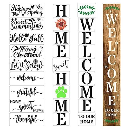 Milkvetch 27 Piezas Plantillas de Bienvenida, Bienvenido Plantillas de Carteles Abiertos Cerrados para Pintura Tienda Tienda Casa Puerta de Entrada Porche DecoracióN Exterior