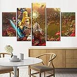 Impresiones sobre Lienzo,5 Piezas Juego The Legend of Zelda: Hyrule Warriors Age of Calamity Cuadros Cartel Modular Arte De La Pared Moderno Decoración para El Hogar Tamaño C