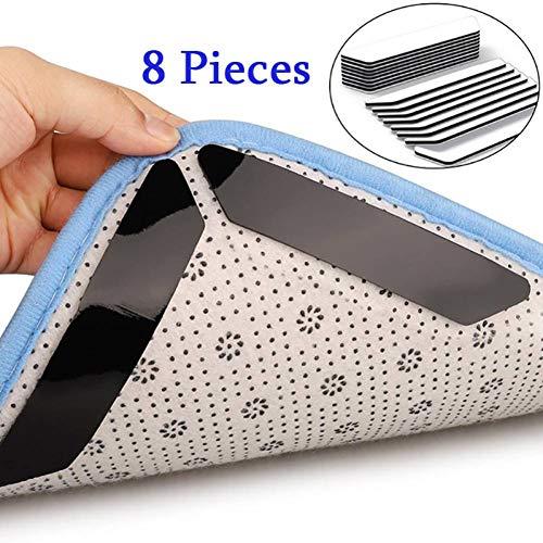 JJSDT Tapijt voor tapijten, vast, zelfklevend, zwart, wit, afneembaar, gemakkelijk te reinigen, 8 stuks