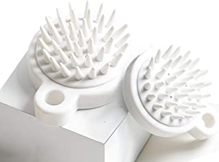 2 Pack Hair Scalp Massager Shampoo Brush Soft Silicone Scalp Care Brush (Wet & Dry) Perfect for Men Women Kids and Pets (White)