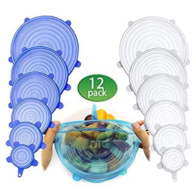 Silicone Stretch Lids, Durable & Eco-Friendly Elastic Lids [12 Pack] Reusable Heat Resistant Various Sizes Cover for Bowl (Blue&white)