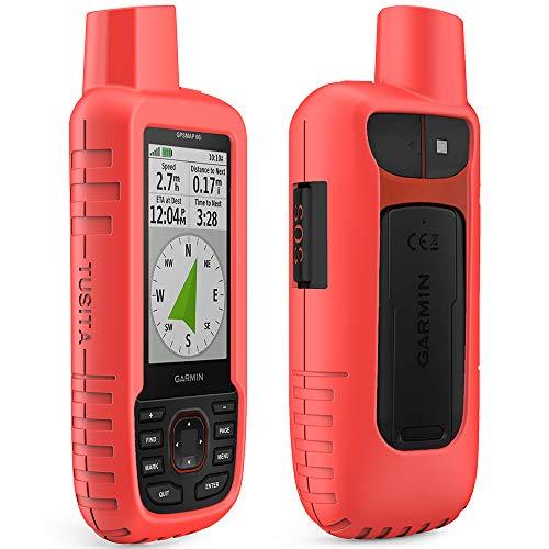 TUSITA Custodia per Garmin GPSMAP 66i - Custodia protettiva in silicone per pelle - Accessori navigazione GPS palmare (Rosso)