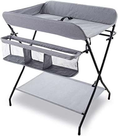 LXF Portable Baby Changing Table with Storage  Folding Diaper Station for Small Space  Nursery Organizer for Newborn  Load 50kg  Color Gray