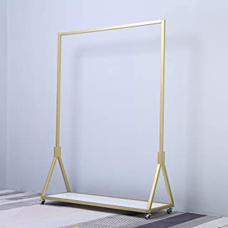 FURVOKIA Modern Simple Heavy Duty Metal Rolling Garment Rack,Retail Display Clothing Rack,Wrought Iron Single Rod Floor-Standing Hangers Clothes Shelves (Gold Square Tube with Wood, 47.2 L)