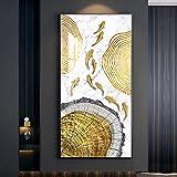 Abstracto oro loto pescado lienzo pintura moderno cartel arte nuevo estilo chino fotos salón decoración 40x80cm/15.7'x31.4' sin marco